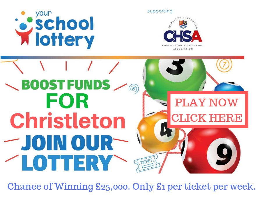 Boost funds for Christleton - Join our Lottery. Chance of winning £25,000. Only £1 per ticket per week. Play now - click here